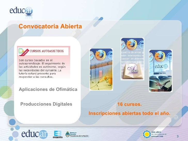 Convocatoria Abierta Aplicaciones de Ofimática Producciones Digitales 16 cursos. Inscripciones abiertas todo el año.