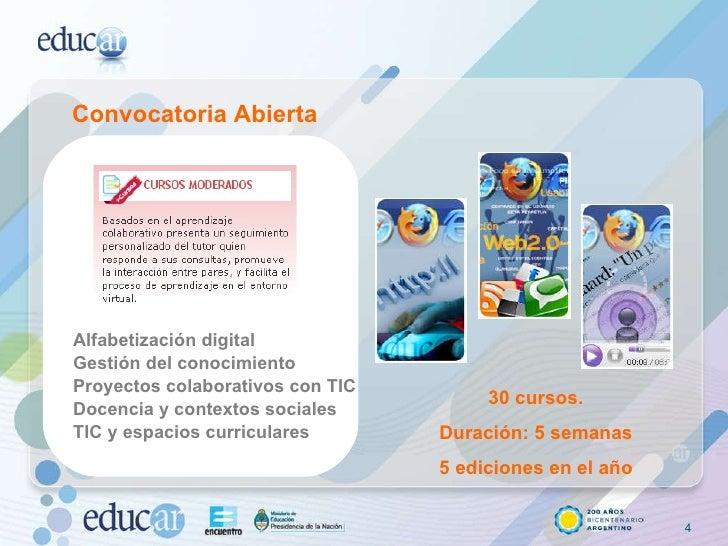 Convocatoria Abierta Alfabetización digital Gestión del conocimiento Proyectos colaborativos con TIC Docencia y contextos ...