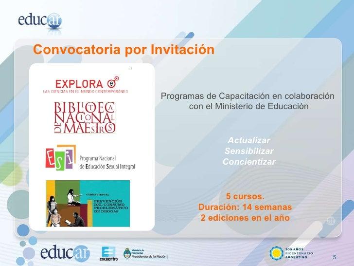 Convocatoria por Invitación Programas de Capacitación en colaboración con el Ministerio de Educación 5 cursos. Duración: 1...