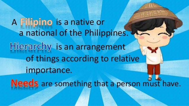 filipino hierarchy of needs Family dynamics often have a person's self-perception may help workers pinpoint and respond to the driving forces behind a young person's current needs.