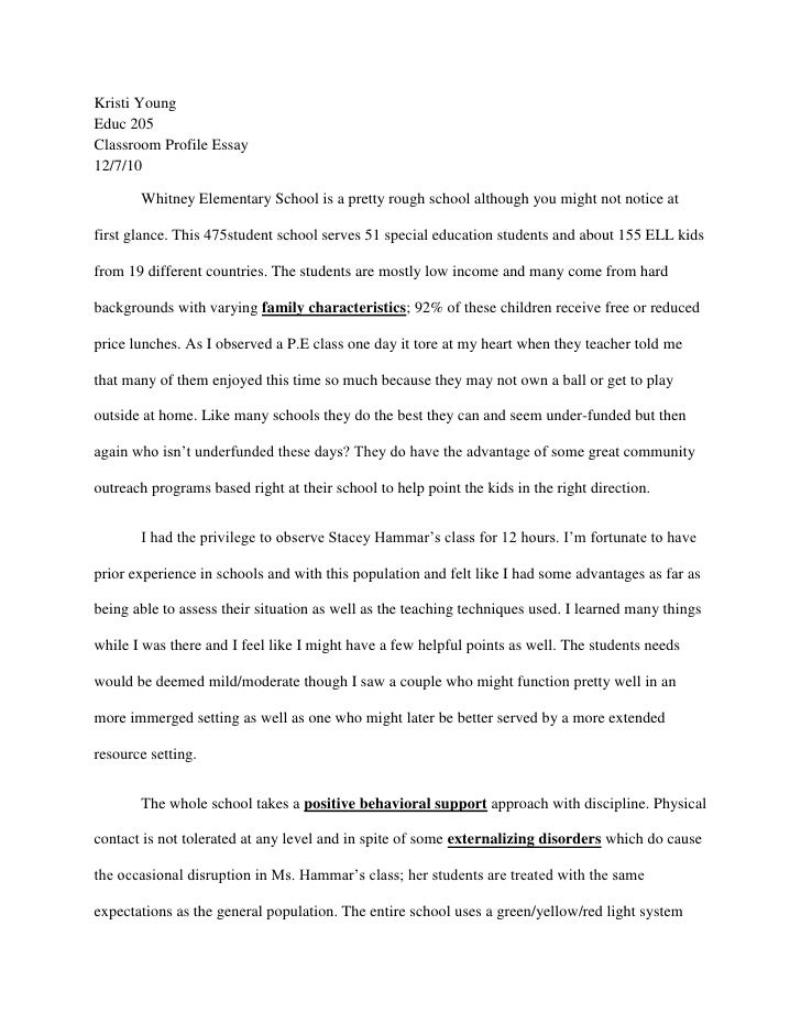 Profile essay examples for college