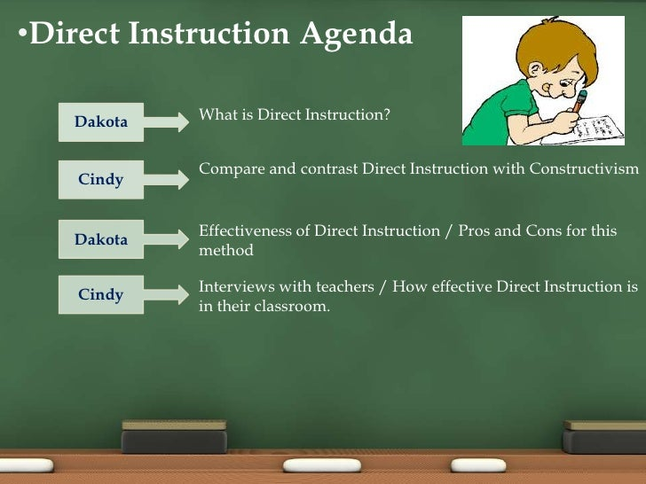 direct instruction Video #8 - direct instruction direct instruction is a four part process that requires the teacher to motivate the students and activate background knowledge.
