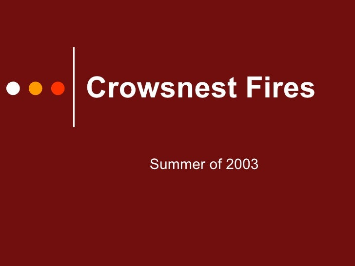 Crowsnest Fires Summer of 2003
