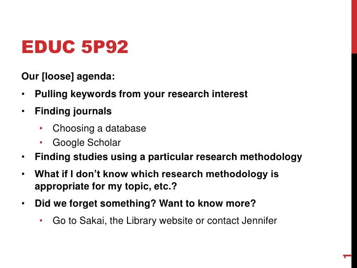 EDUC 5P92<br />Our [loose] agenda:<br /><ul><li>Pulling keywords from your research interest