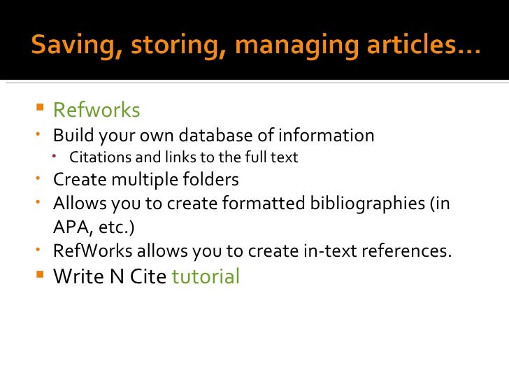 Refworks write and cite tutorials
