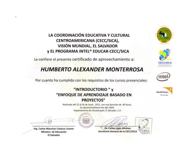 """LA COORDINACIÓN EDUCATIVA v CULTURAL CENTROAMERICANA (CECC/ SICA),  VISIÓN MUNDIAL,  EL SALVADOR y EL PROGRAMA INTEL"""" EDUC..."""