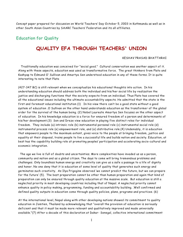 Concept paper prepared for discussion on World Teachers' Day October 5, 2003 in Kathmandu as well as inother South Asian C...