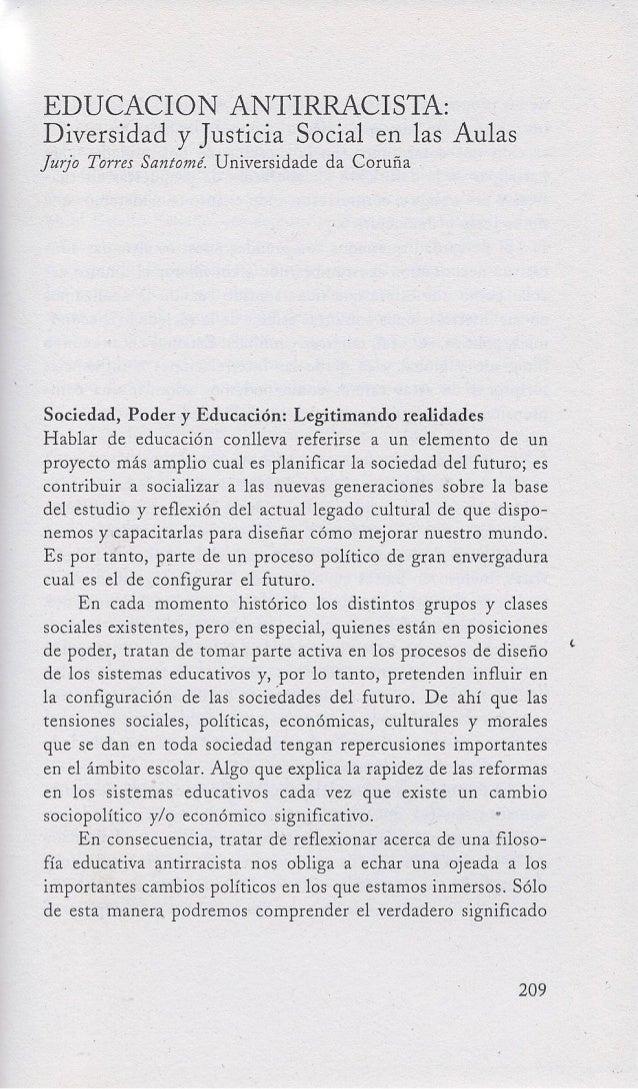 Educación antirracista. Diversidad y justicia social en las aulas. Jurjo Torres Santomé