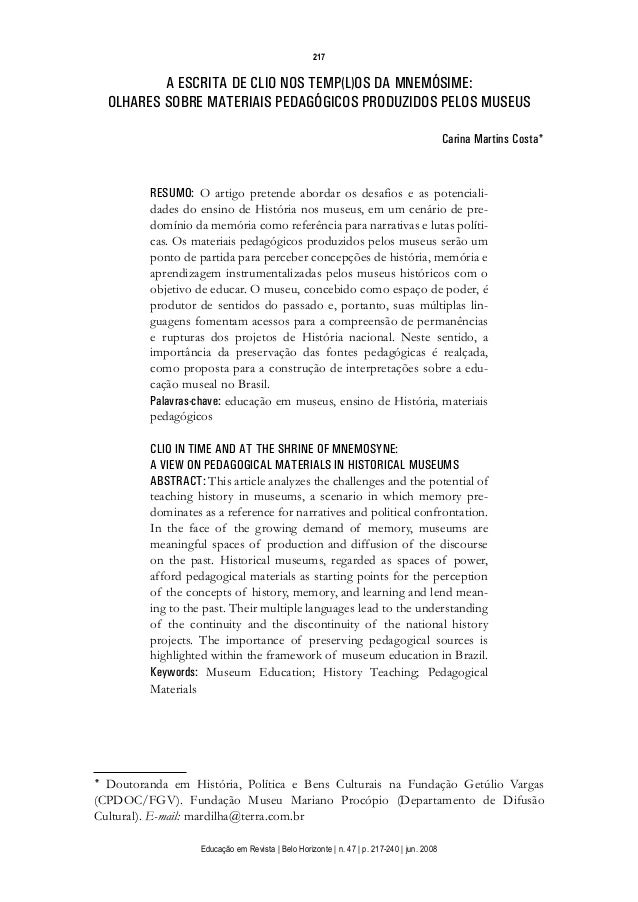 d 06.qxp  5/6/2008  16:11  Page 1  217  A ESCRITA DE CLIO NOS TEMP(L)OS DA MNEMÓSIME: OLHARES SOBRE MATERIAIS PEDAGÓGICOS ...