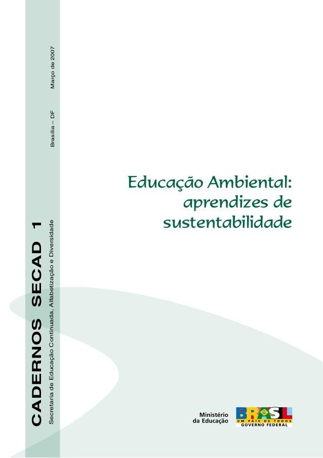 Secretaria de Educação Continuada, Alfabetização e Diversidade  CADERNOS SECAD 1  Educação Ambiental: aprendizes de susten...