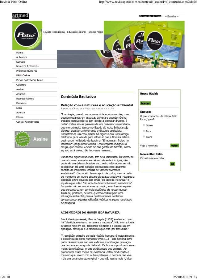 Revista Pedagógica Educação Infantil Ensino Médio Home A Revista Sumário Números Anteriores Próximos Números Pátio Online ...