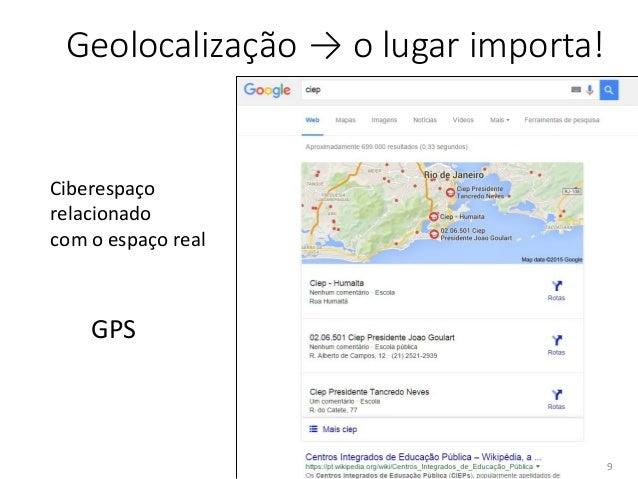 /25 Geolocalização → o lugar importa! Ciberespaço relacionado com o espaço real GPS 9
