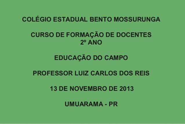 COLÉGIO ESTADUAL BENTO MOSSURUNGA CURSO DE FORMAÇÃO DE DOCENTES 2º ANO EDUCAÇÃO DO CAMPO PROFESSOR LUIZ CARLOS DOS REIS 13...
