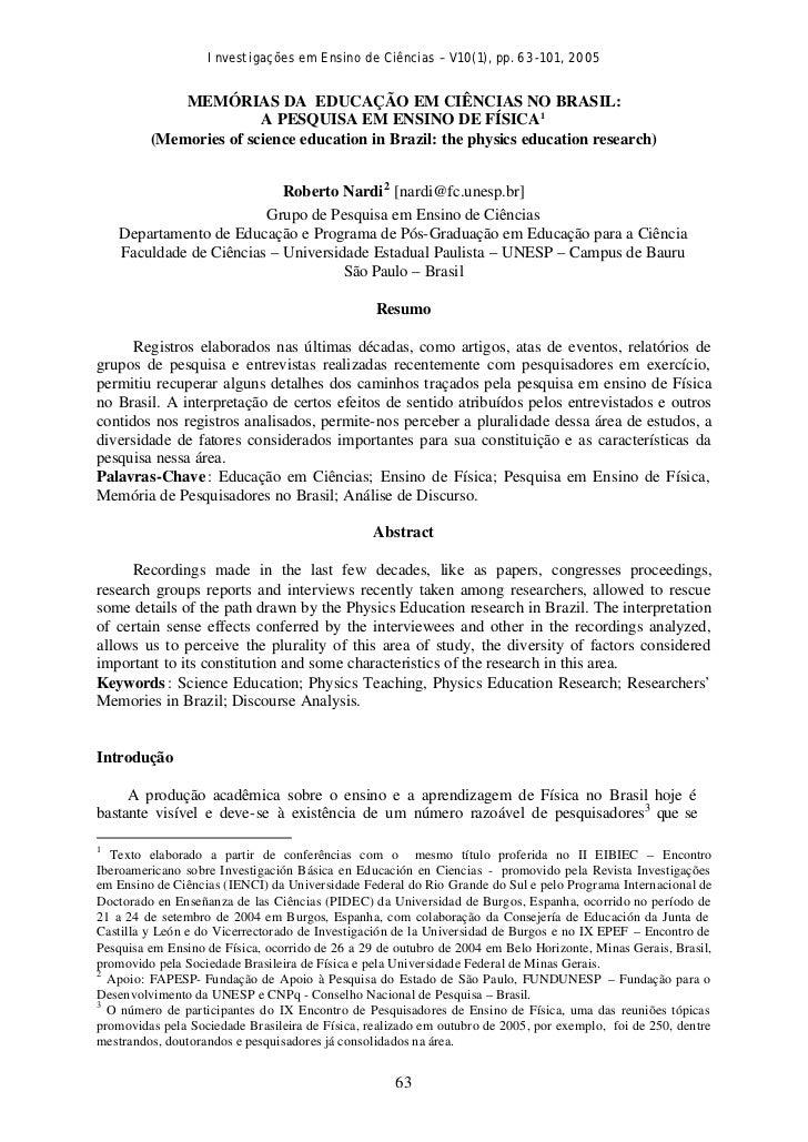 Investigações em Ensino de Ciências – V10(1), pp. 63-101, 2005             MEMÓRIAS DA EDUCAÇÃO EM CIÊNCIAS NO BRASIL:    ...