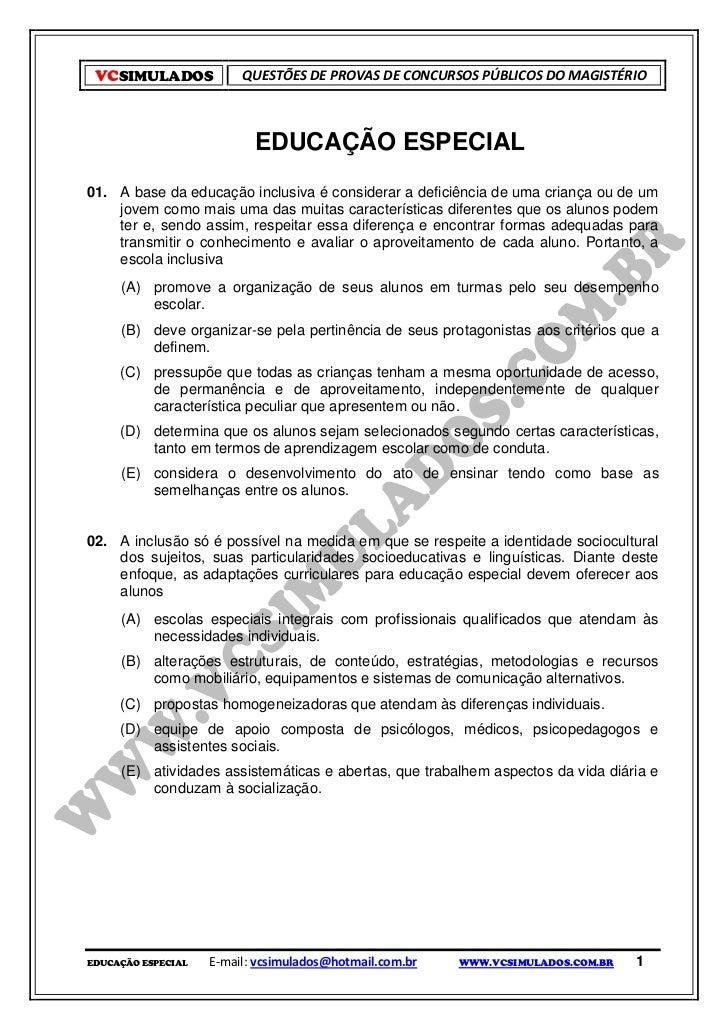 VCSIMULADOS             QUESTÕES DE PROVAS DE CONCURSOS PÚBLICOS DO MAGISTÉRIO                           EDUCAÇÃO ESPECIAL...