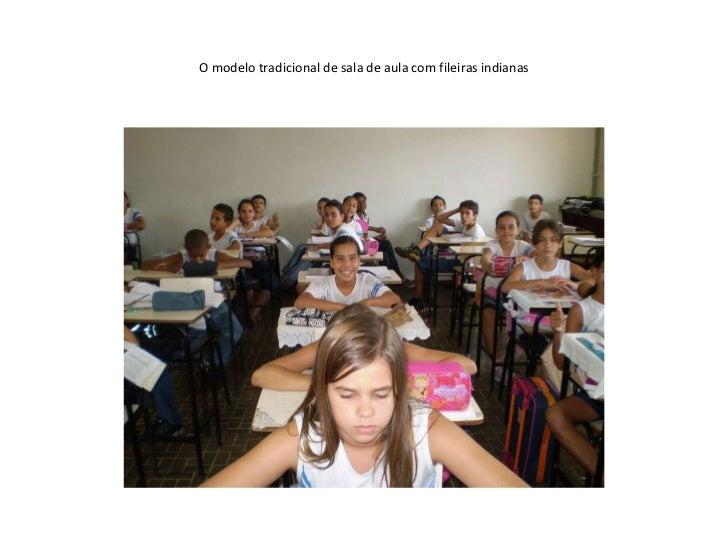 O modelo tradicional de sala de aula com fileiras indianas