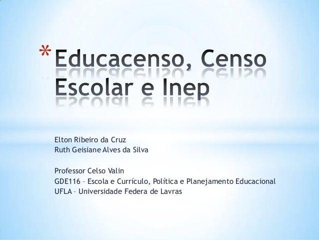 Elton Ribeiro da Cruz Ruth Geisiane Alves da Silva Professor Celso Valin GDE116 – Escola e Currículo, Política e Planejame...