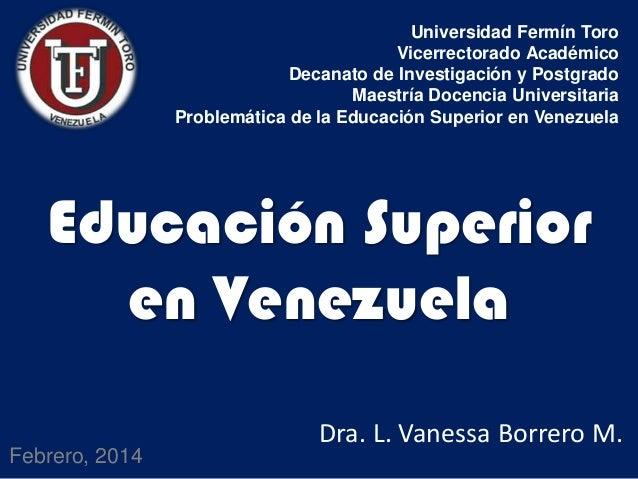 Universidad Fermín Toro Vicerrectorado Académico Decanato de Investigación y Postgrado Maestría Docencia Universitaria Pro...