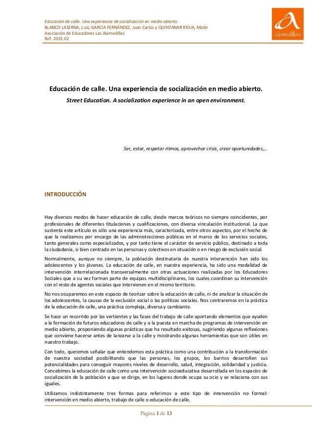 Educación de calle. Una experiencia de socialización en medio abierto. BLANCO LASERNA, Luis; GARCIA FERNÁNDEZ, Juan Carlos...