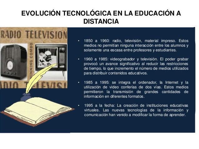 • 1850 a 1960: radio, televisión, material impreso. Estos medios no permitían ninguna interacción entre los alumnos y sola...