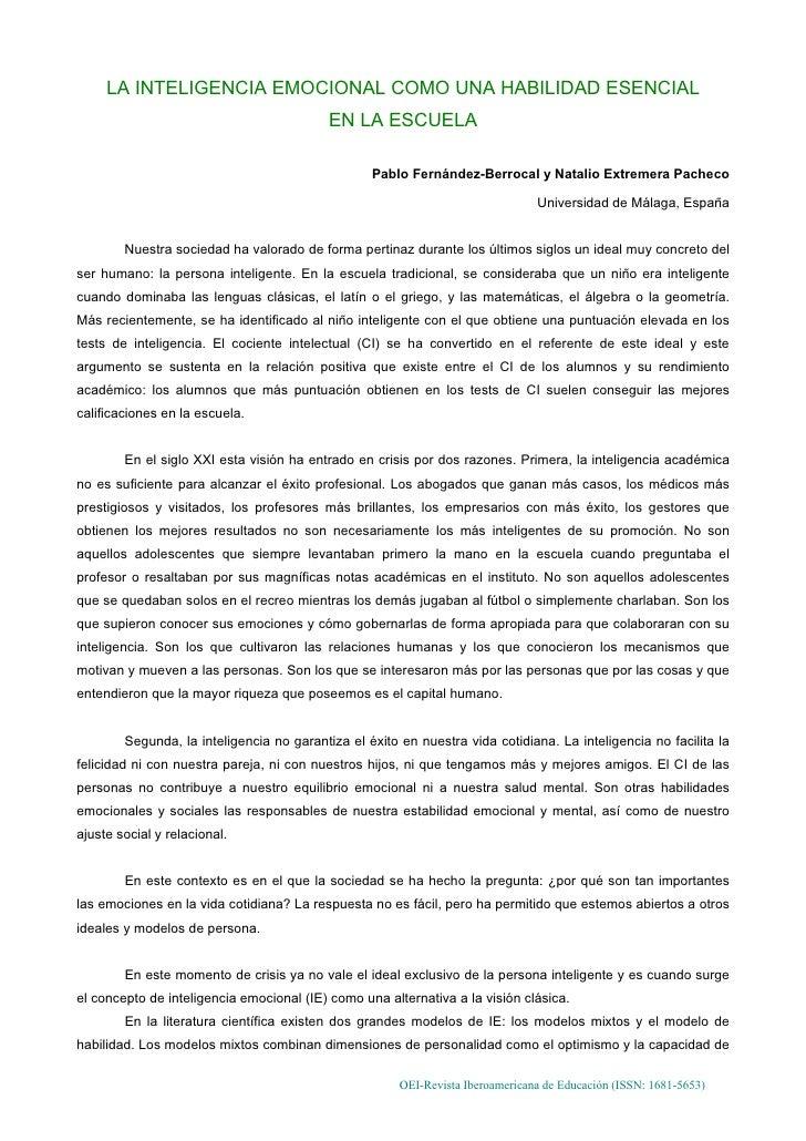 LA INTELIGENCIA EMOCIONAL COMO UNA HABILIDAD ESENCIAL                                            EN LA ESCUELA            ...