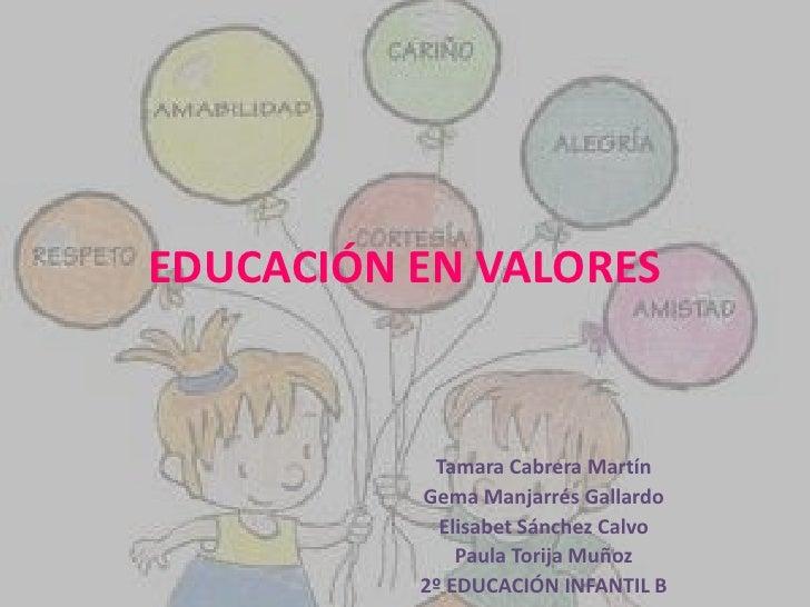 EDUCACIÓN EN VALORES           Tamara Cabrera Martín          Gema Manjarrés Gallardo            Elisabet Sánchez Calvo   ...