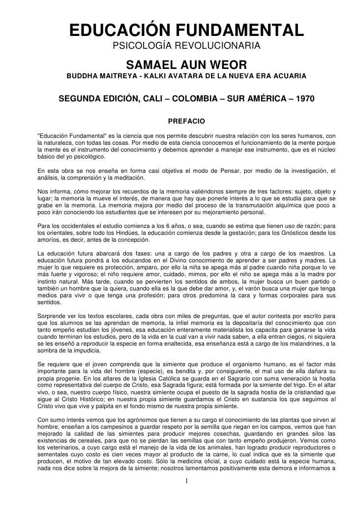 EDUCACIÓN FUNDAMENTAL                            PSICOLOGÍA REVOLUCIONARIA                                 SAMAEL AUN WEOR...