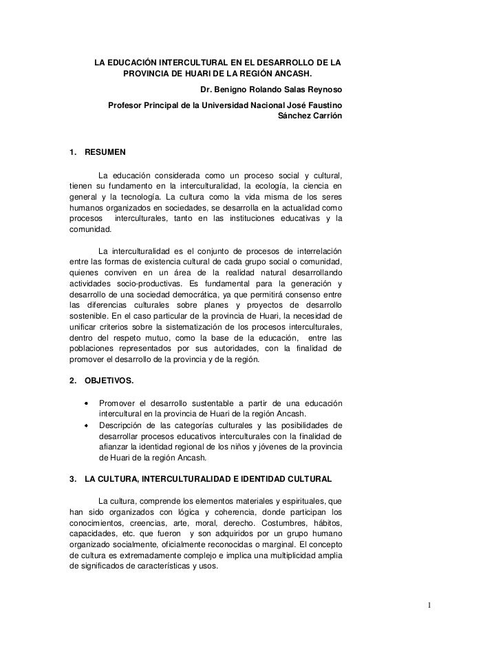LA EDUCACIÓN INTERCULTURAL EN EL DESARROLLO DE LA  PROVINCIA DE HUARI DE LA REGIÓN ANCASH.<br />Dr. Benigno Rolando Salas ...