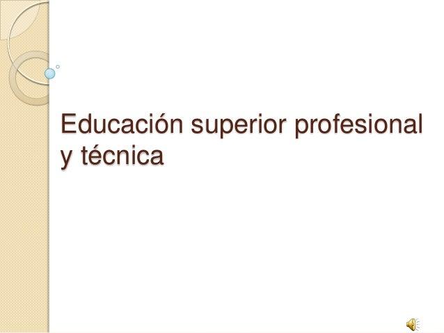 Educación superior profesional y técnica