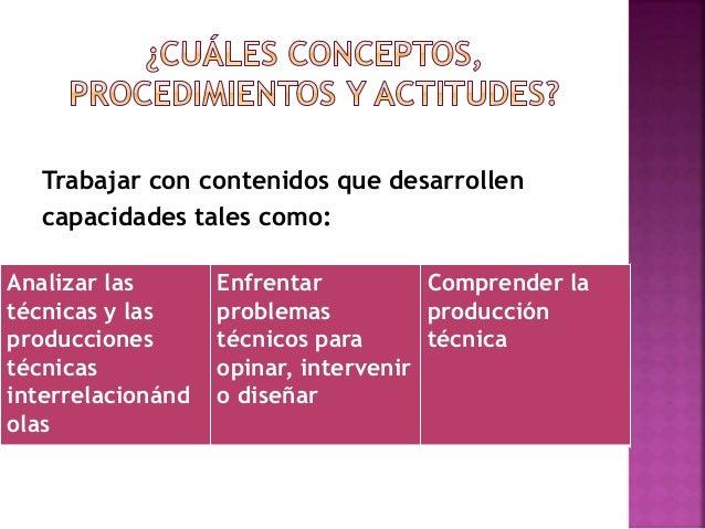 Trabajar con contenidos que desarrollen capacidades tales como: Analizar las técnicas y las producciones técnicas interrel...