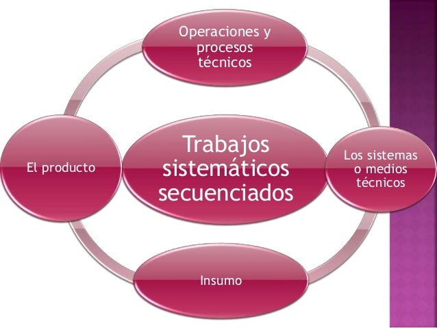 Trabajos sistemáticos secuenciados Operaciones y procesos técnicos Los sistemas o medios técnicos Insumo El producto