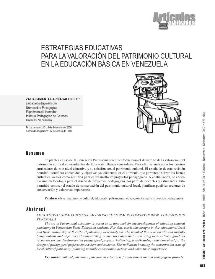 ESTRATEGIAS EDUCATIVAS             PARA LA VALORACIÓN DEL PATRIMONIO CULTURAL             EN LA EDUCACIÓN BÁSICA EN VENEZU...