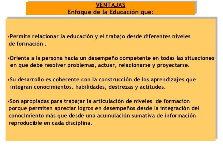 VENTAJAS Enfoque de la Educación que: <ul><li>Permite relacionar la educación y el trabajo desde diferentes niveles  </li>...