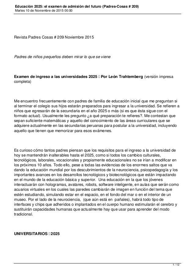 Educación 2025: el examen de admisión del futuro (Padres-Cosas # 209) Martes 10 de Noviembre de 2015 00:00 Revista Padres ...