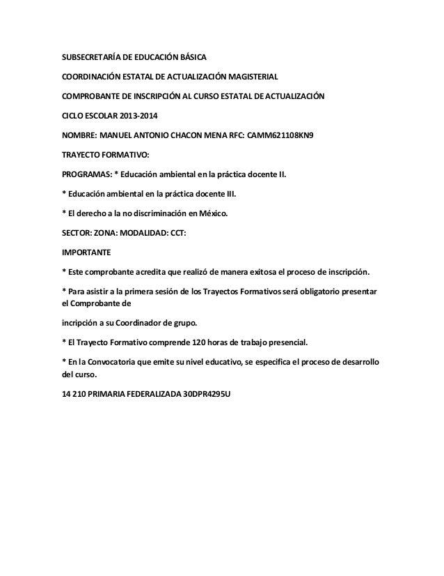 SUBSECRETARÍA DE EDUCACIÓN BÁSICA COORDINACIÓN ESTATAL DE ACTUALIZACIÓN MAGISTERIAL COMPROBANTE DE INSCRIPCIÓN AL CURSO ES...