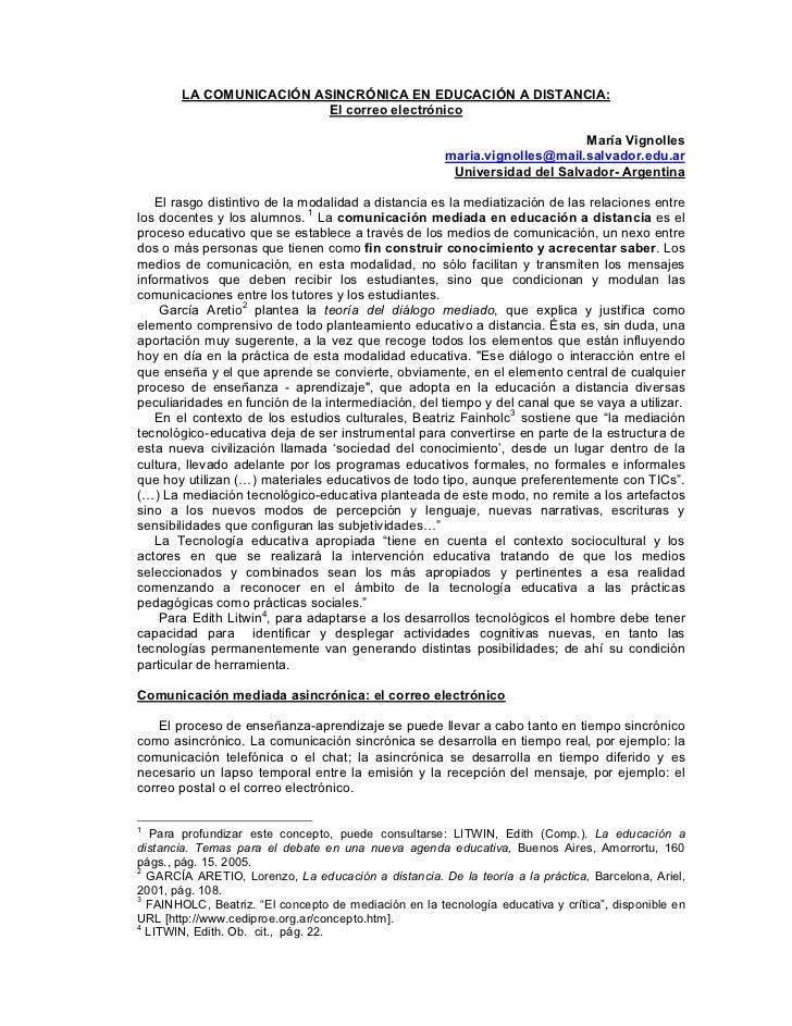 LA COMUNICACIÓN ASINCRÓNICA EN EDUCACIÓN A DISTANCIA:                          El correo electrónico                      ...