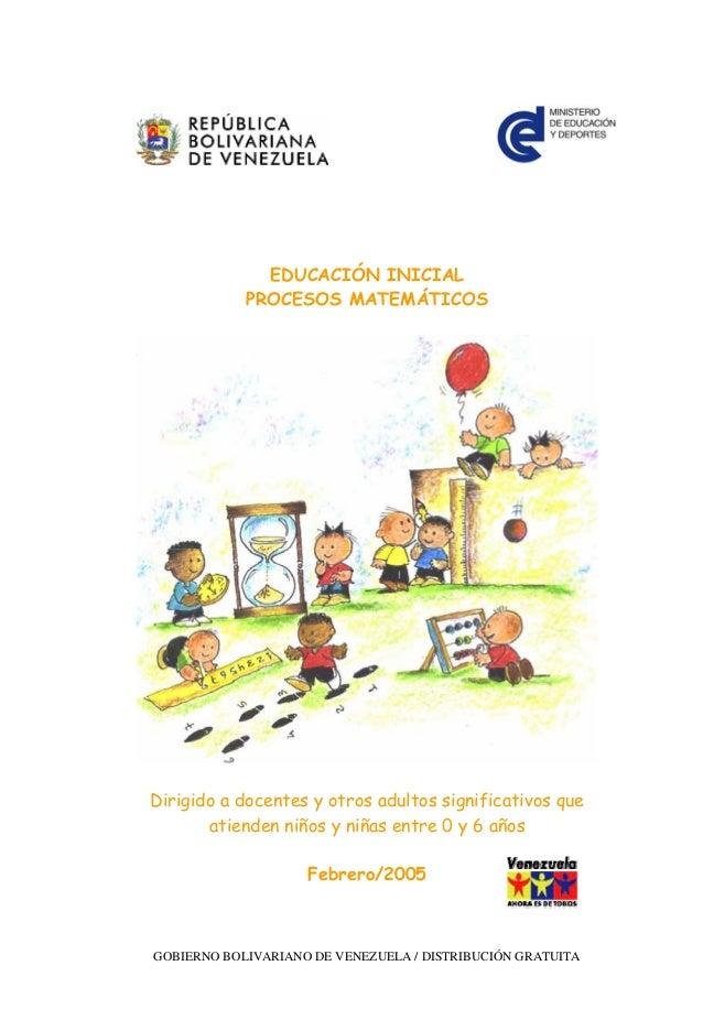 EDUCACIÓN INICIAL            PROCESOS MATEMÁTICOSDirigido a docentes y otros adultos significativos que       atienden niñ...