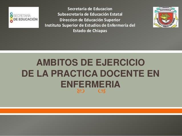   AMBITOS DE EJERCICIO DE LA PRACTICA DOCENTE EN ENFERMERIA Secretaria de Educacion Subsecretaria de Educación Estatal D...
