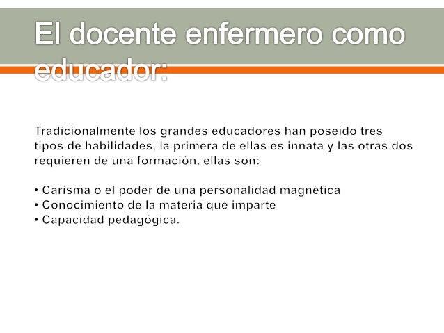 AMBITOS DE EJERCICIOS DE LA PRACTICA DOCENTE EN ENFERMERIA a) Organización del ambiente de clase b) Habilidad de ejecución...