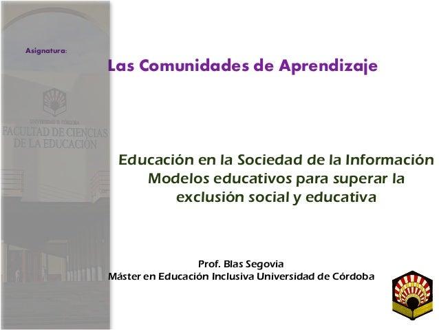 Educación en la Sociedad de la Información Modelos educativos para superar la exclusión social y educativa Prof. Blas Sego...