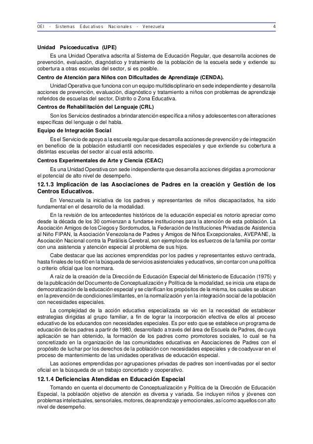 OEI - Sistemas Educativos Nacionales - Venezuela 4 Unidad Psicoeducativa (UPE) Es una Unidad Operativa adscrita al Sistema...