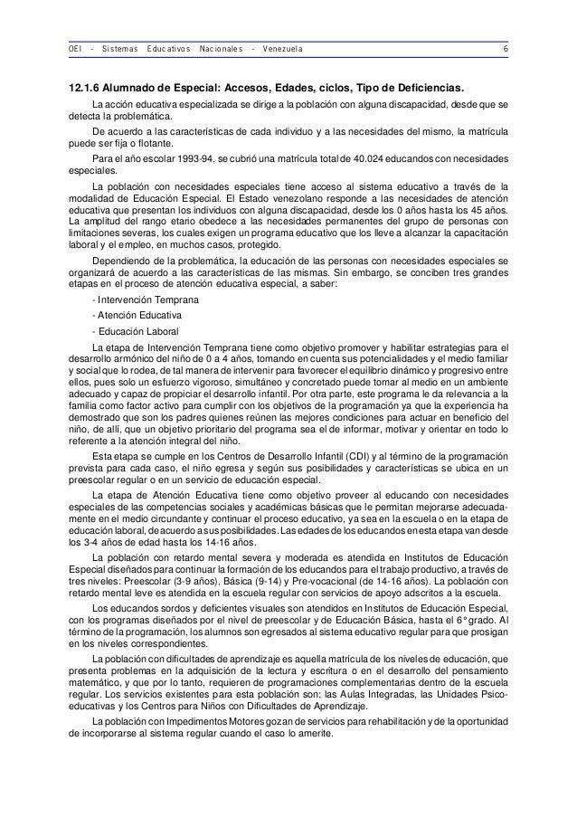 OEI - Sistemas Educativos Nacionales - Venezuela 6 12.1.6 Alumnado de Especial: Accesos, Edades, ciclos, Tipo de Deficienc...