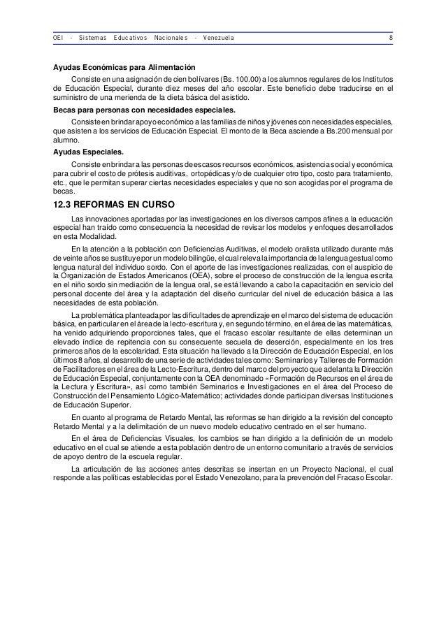 OEI - Sistemas Educativos Nacionales - Venezuela 8 Ayudas Económicas para Alimentación Consiste en una asignación de cien ...