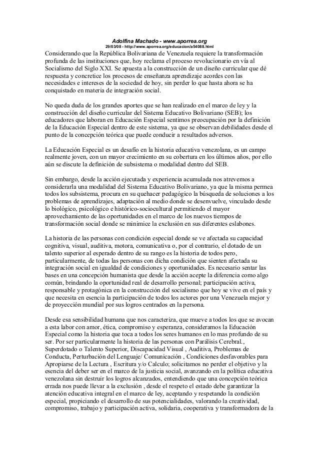 Adolfina Machado - www.aporrea.org 29/03/08 - http://www.aporrea.org/educacion/a54088.html Considerando que la República B...