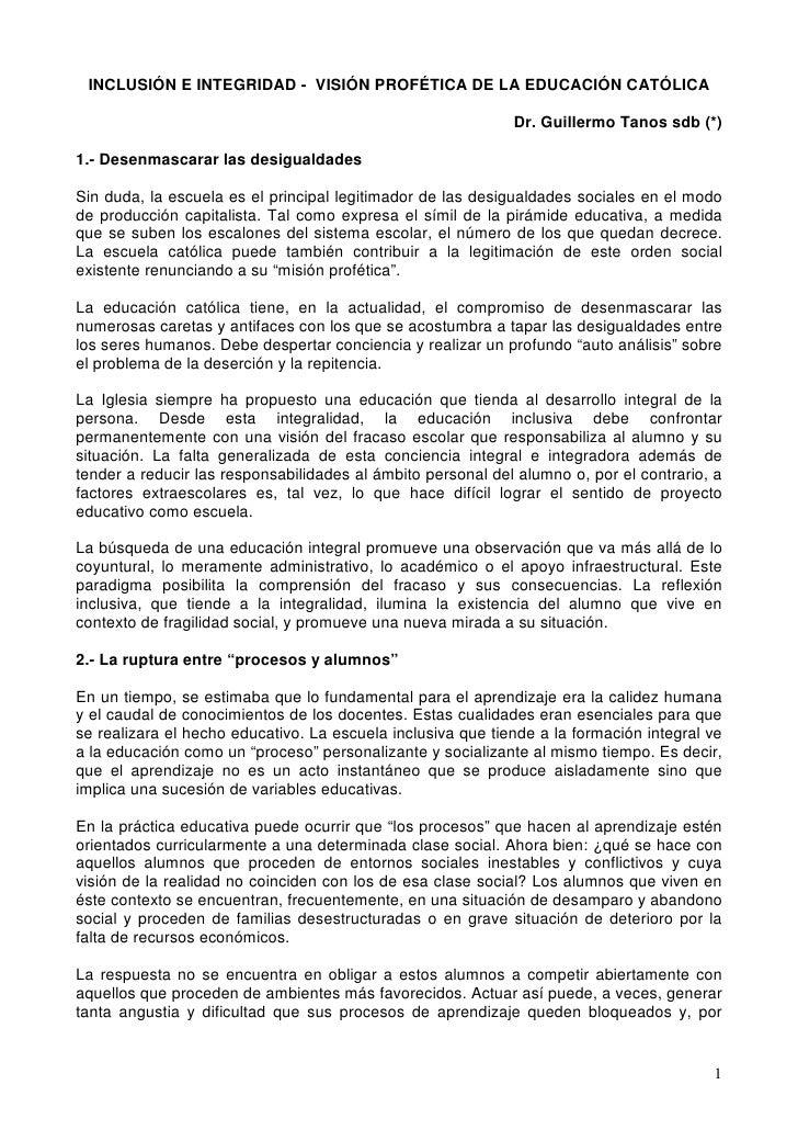 INCLUSIÓN E INTEGRIDAD - VISIÓN PROFÉTICA DE LA EDUCACIÓN CATÓLICA                                                        ...
