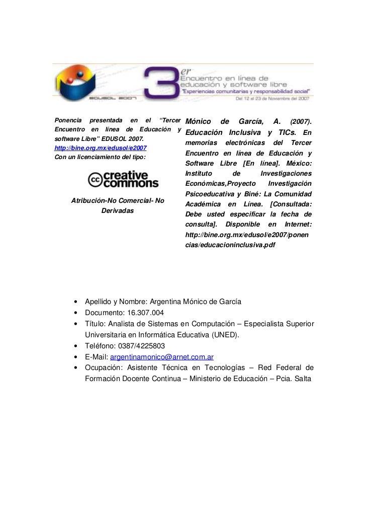"""Ponencia  presentada  en  el  """"Tercer  Mónico  de  García,  A. (2007). Encuentro  en  línea  de  Educación ..."""