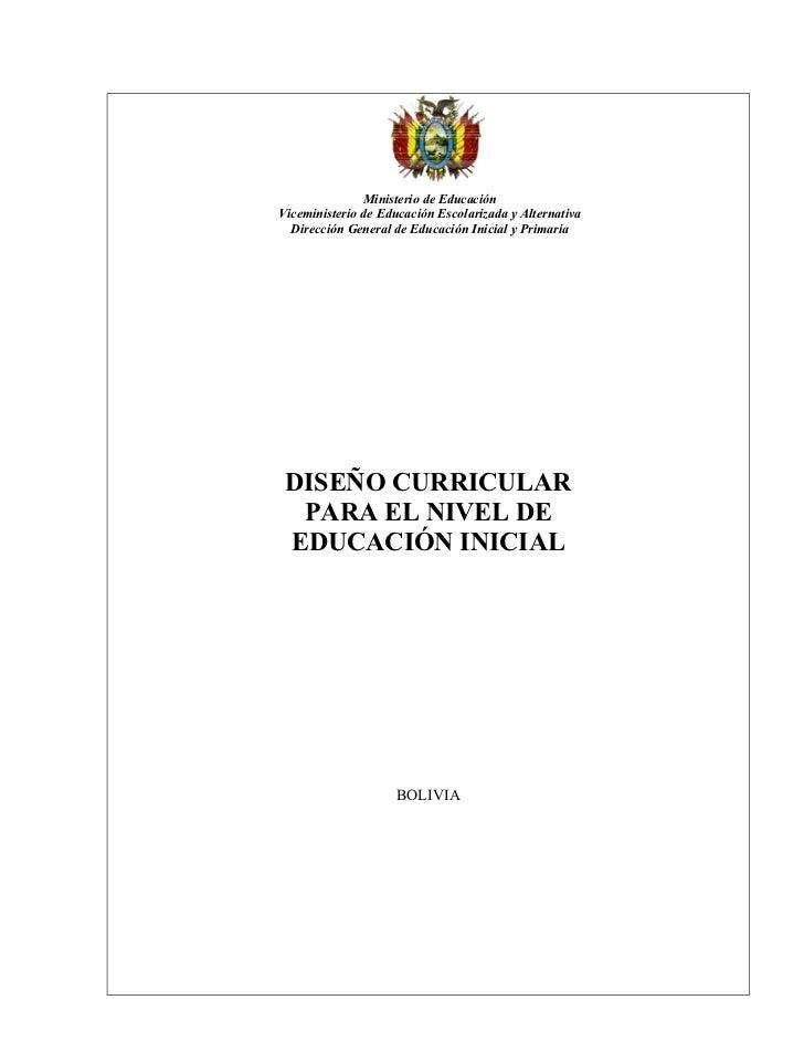 Ministerio de EducaciónViceministerio de Educación Escolarizada y Alternativa  Dirección General de Educación Inicial y Pr...
