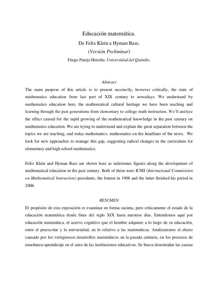 Educación matemática.                              De Felix Klein a Hyman Bass.                                    (Versió...