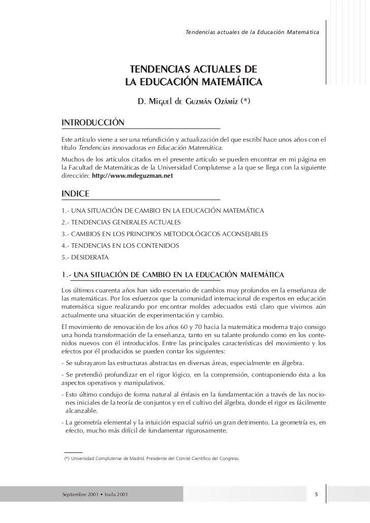 Tendencias actuales de la Educación Matemática                               TENDENCIAS ACTUALES DE                       ...
