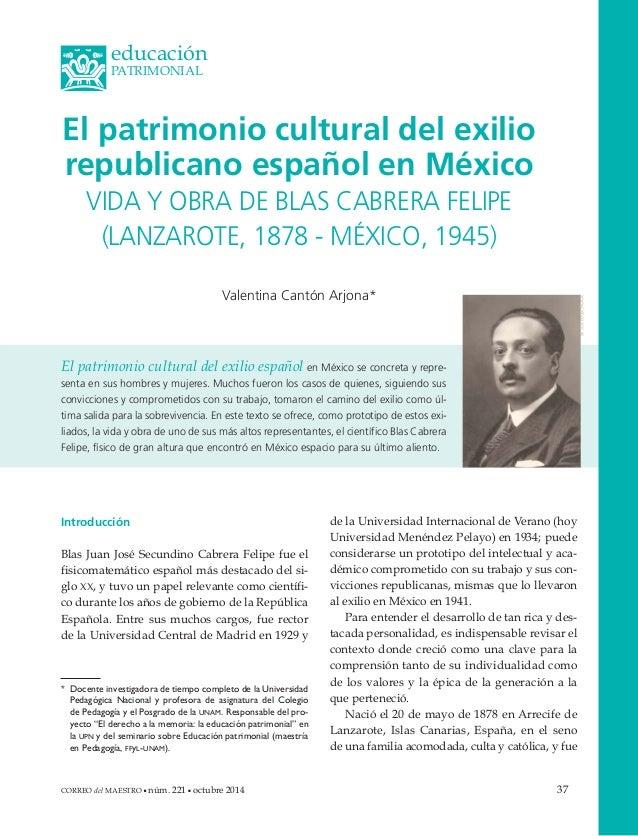 El patrimonio cultural del exilio  republicano español en México  VIDA Y OBRA DE BLAS CABRERA FELIPE  (LANZAROTE, 1878 - M...